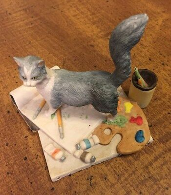 Lowell Davis Renoir Gray Cat  figurine autographed to Ivan your friend 1989
