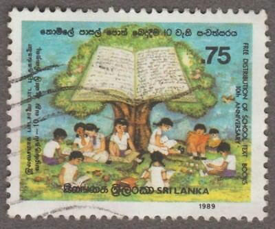 Sri Lanka Free Distribution Of School Text Books 0.75 Issued 1989 Used Stamp