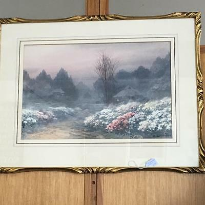 VINTAGE CARVED GOLD FRAMED  WATERCOLOUR..SIGNED.. CIRCA 1930  67 X 50 cm