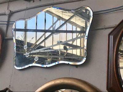 Lovely Large Art Deco Shaped Rectangular Mirror With Etched Design  90 X 62 Cm