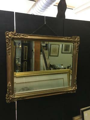 SMALL RECTANGULAR GOLD CARVED FRENCH LOUIS BEVELLED MIRROR 60 x 50cm