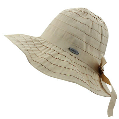 Womens Summer Beach Cotton Travel Roll-up Big Brim Pleated Sun UV Bucket  Hat Cap 0a3b3b51341c