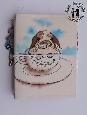 B6 size Travelers Notebook Fabric Cover, Holland Lop Bunny in A Cup