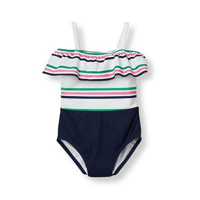 NWT Janie & Jack FLAMINGO COVE 3 4 5 6 7 Striped Ruffle Swimsuit Navy Pink Green