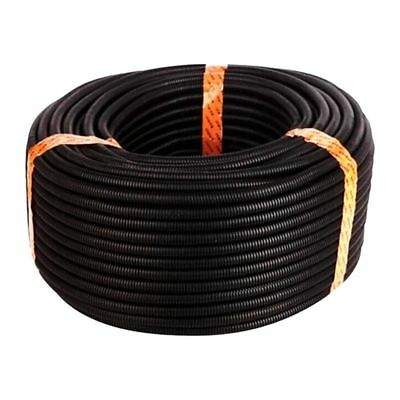 100 Ft 1/4 inch Split Wire Loom Conduit Polyethylene Tubing Black Color Sle S3H4