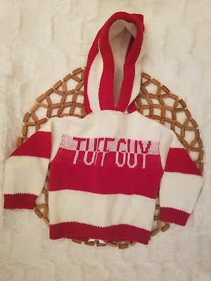"""Dr Denton Vintage Boys Sweater Hooded Spellout """"Tuff Guy"""" Striped Red White L/S"""