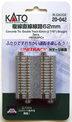 "Kato 20-042 62mm (2 7/16"") Straight Track WS62PC (N scale)"