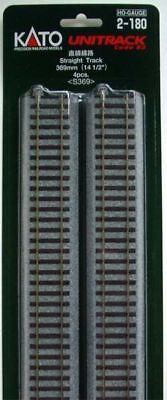 """Kato 2-180 369mm (14 1/2"""") Straight Track S369  (4 pieces) (HO scale)"""