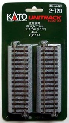 "Kato 2-120 114mm (4 1/2"") Straight Track S114  (4 pieces) (HO scale)"