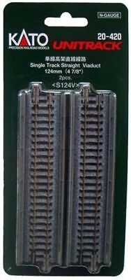 "Kato 20-420 124mm (4 7/8"") Single Track Straight Viaduct Track (N scale)"