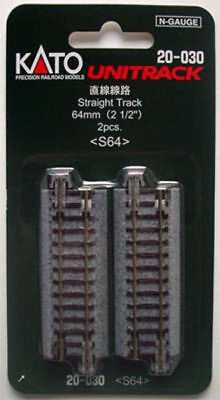 "Kato 20-030 64mm (2 1/2"") Straight Track S64 (N scale)"