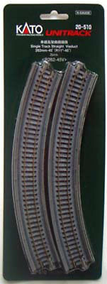 "Kato 20-510 282mm (11"") Single Viaduct Track R282-45V (N scale)"