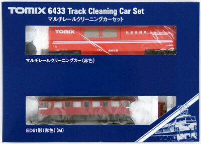 Tomix 6433 Track Cleaning Car Set (Red) with Locomotive (N scale)