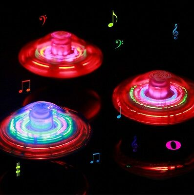 Kids UFO Spinning Top Light Up Flashing Laser Music Sound Tops Electronic Toy JD