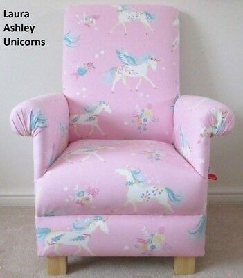 Laura Ashley Chair Unicorns Fabric Childrens Girls Pink Armchair Bedroom Nursery