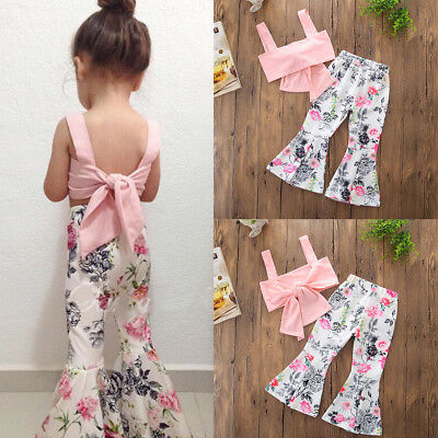 1-6T Toddler Girls Kids Bowknot Tops Long Pants 2Pcs Outfits Set Floral Clothes
