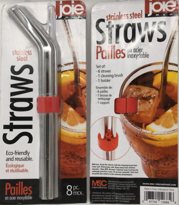 Details about  /Joie Stainless Steel Straw Set 8-pc