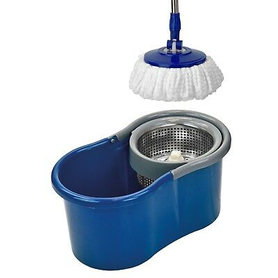 Blue Floor Mop Bucket Microfiber Spinning Easy Magic Spin 2 Heads Rotating 360°