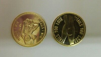 """Lot of TWO (2)- """"Heads I Win - Tails You Lose"""" Nude Flipping Coin NEW"""