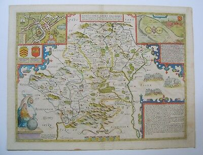 Hertfordshire: antique map by John Speed, 1610 (1676 edition)