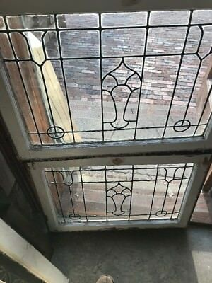 SG 2170 2Av price separate antique leaded glass window 23 X. 30.25