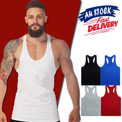 Mens Gym Singlet T Back Vest Tank Top Racer Y Back Bodybuilding Cotton Man Men