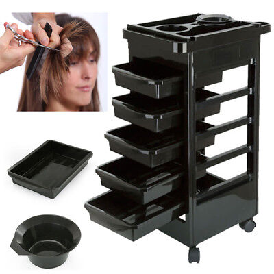 Salon Hairdresser Barber Beauty Storage Trolley 5 Drawers Cart Spa Tray S247
