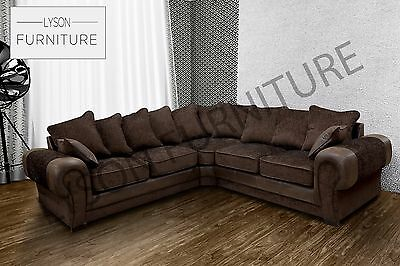New Large Tango Corner Sofa Fabric Faux Leather Grey Black Brown Beige Prada
