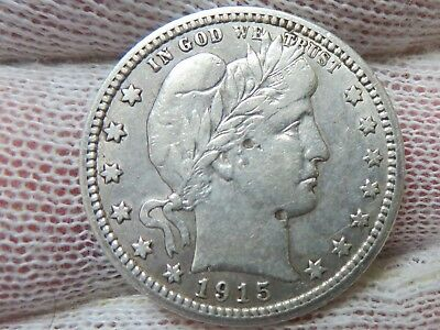 1915 Barber silver Quarter with FULL LIBERTY and free shipping