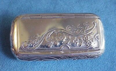Early Hallmarked Antique FRENCH Sterling Silver Hinged Vining Flowers Snuff Box