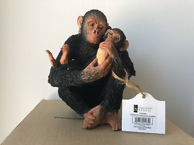 Country Artists Chimpanzee And Baby Figurine Natural World CA05465 NIB