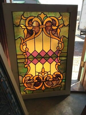 SG 2172 antique stained glass landing window 28.25 x 42.25