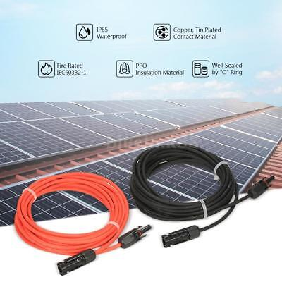 1 Pair Solar Panel Extension Cable Wire MC4 Connector 10 AWG Black+Red J9X2