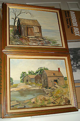 Pair of oil on board Framed Naive Folk art Seascapes one signed J.L. Camp