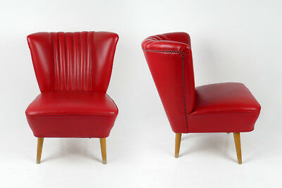 1 of 2 Vintage Mid-Century Leatherette Armchair Cocktail Chair