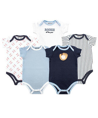 "Luvable Friends Baby Boys' ""Baseball Rookie"" 5-Pack Bodysuits"