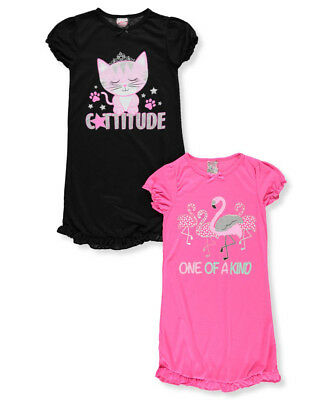 Sweet n Sassy Girls' 2-Pack Nightgowns
