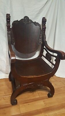 Carved LION Head Arm Chair Original Antique Turn of the Century R/J Horner Era