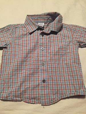 Gymboree Boys Short Sleeve Button Up Shirt Size 12-18 Months Blue Orange