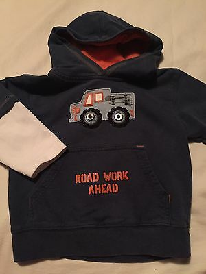 Gymboree Construction Ahead Boys Hoodie Sweatshirt Size 18-24 Months