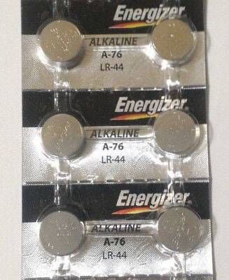 6 Fresh Genuine Energizer A76 LR44 AG13 357 157 303 Alkaline Battery Exp 2022