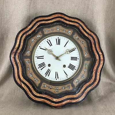 Large Antique Clock Kitchen Chiming Pine & Painted Case French Country