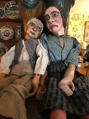 Antique French Wooden Marionettes Carved Doll Puppet Circa 1800s Folk Art