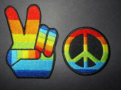 "Embroidered Patch BOGO ""Peace Sign & Symbol""  NICE PAIR ---------- PROMOTE PEACE"