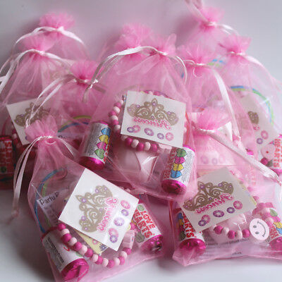 12 x PINK YOUNGER GIRLS PAMPER THEMED PRE-FILLED PARTY BAG - SLUMBER SLEEPOVER