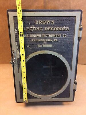 Industrial Brown Instrument Electric Recording Pyrometer Phil Pa.1914 Metal Box