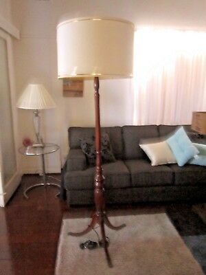 Vintage Art Deco Timber Standard Floor Lamp With Ivory Drum Shape Shade