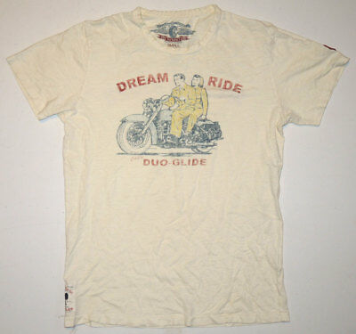 Vtg Johnson Motorcycle Racing T Shirt Sm Duo-Glide Print Retro Reproduction
