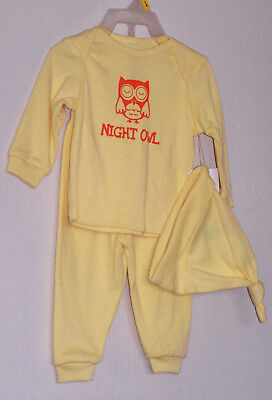 Night Owl Baby Boy Girl 3pc set outfit pajama yellow 0/3M 3/6M 6/9M long sleeve