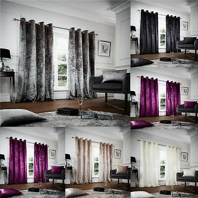 Luxury Crushed Velvet PAIR Eyelet Ring Top Curtains Fully Lined Ready Made